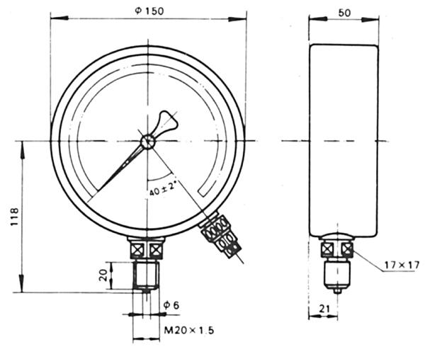 电阻远传压力表外形尺寸
